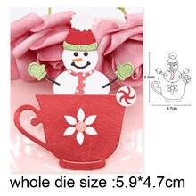 2020 новые металлические штампы Рождественский Снеговик на чашке