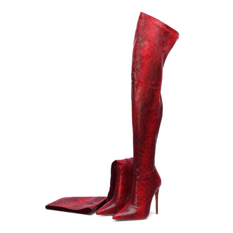 Prova Perfetto Nữ Đùi Cao Cấp Giày Da Rắn In Hình Trên Đầu Gối Giày Gợi Cảm Chỉ Giày Cao Gót Giày Người Phụ Nữ Botas mujer