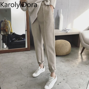 2019 new winter thick woolen harem pants female feet carrot pants large size nine points loose casual straight suit trousers(China)