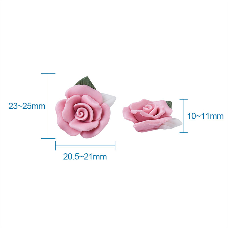 Image 5 - 40pcs Handmade Porcelain Cabochons Pink Flower Clay Beads for Jewelry Making DIY Bracelet Necklace 23~25x20.5~21x10~11mm-in Jewelry Findings & Components from Jewelry & Accessories