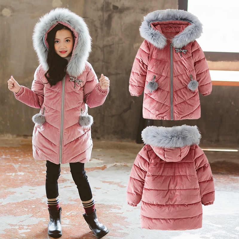 Jaqueta de inverno de algodão para meninos meninas real chapéu de pele de guaxinim casaco de inverno para meninos estilo longo crianças parka macacão de inverno para meninas