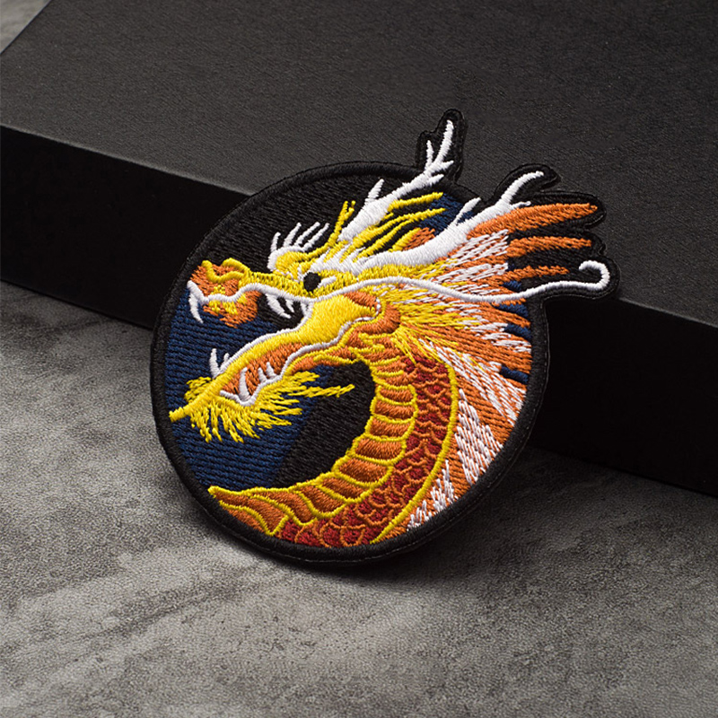 2 RED /& GOLD CHINESE DRAGON Embroidered Iron Sew On Cloth Patch Badge  APPLIQUE