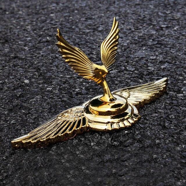 1PC Goldene Fliegenden Adler Flügel Pferd Stehend Kniend Göttin Form Auto Haube Motorhaube 3D Stehen Univeral Emblem Abzeichen Ornament logo