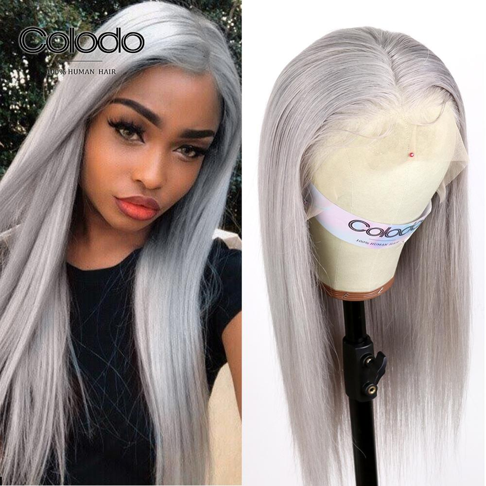 COLODO Ash Grey Lace Front Human Hair Wigs Pre Plucked Baby Hair Brazilian Remy Ombre Rose Pink Straight Wigs For Black Women