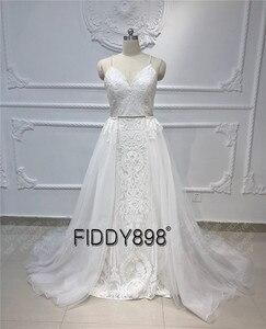 Image 5 - בציר תחרה חתונה שמלת 2020 נצנצים כלה שמלות vestido דה noiva בת ים שמלות כלה עם נתיק רכבת robe דה mariee