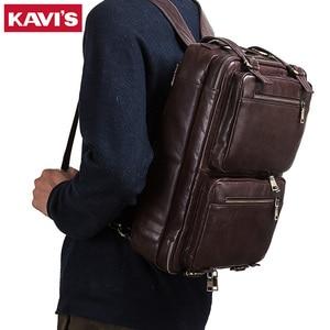 KAVIS 2020 New Men Backpack Multifunctional Travel Handbag 100% Genuine Leather Tote Laptop Male Bag office High Quality