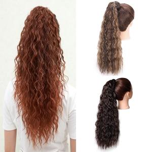 Vigorous Corn Water Wave Sythetic Long Ponytail Twelve Cloour Hair Extension(China)