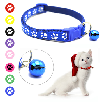 Kitten Paw Print Collar With Bell  1