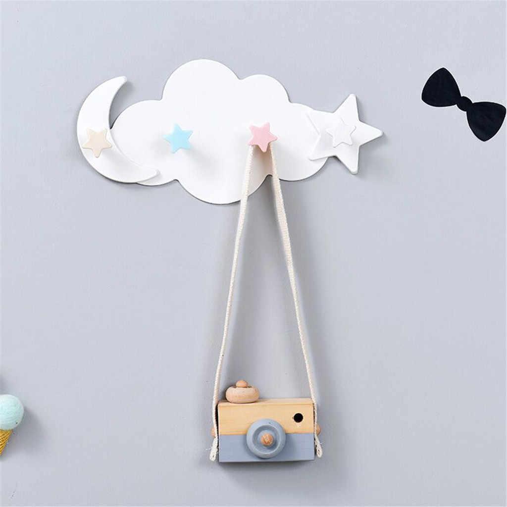 4 ווי קיר רכוב בגדי מפתח מחזיק Creative כוכב ירח ענן צורת נייל משלוח לחות הוכחת רב תפקודי ווי קולב