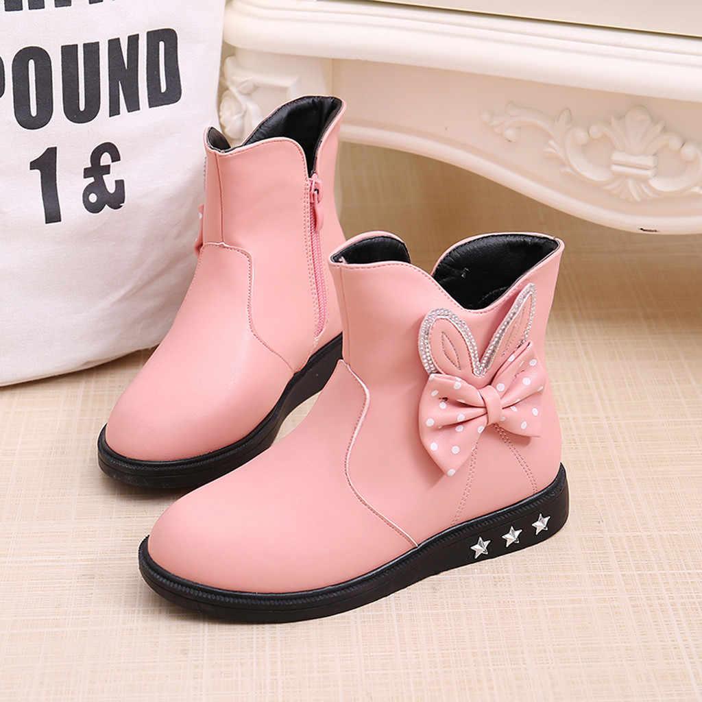 Детская обувь для девочек ясельного возраста; обувь принцессы с бантом-бабочкой; модные кожаные ботинки
