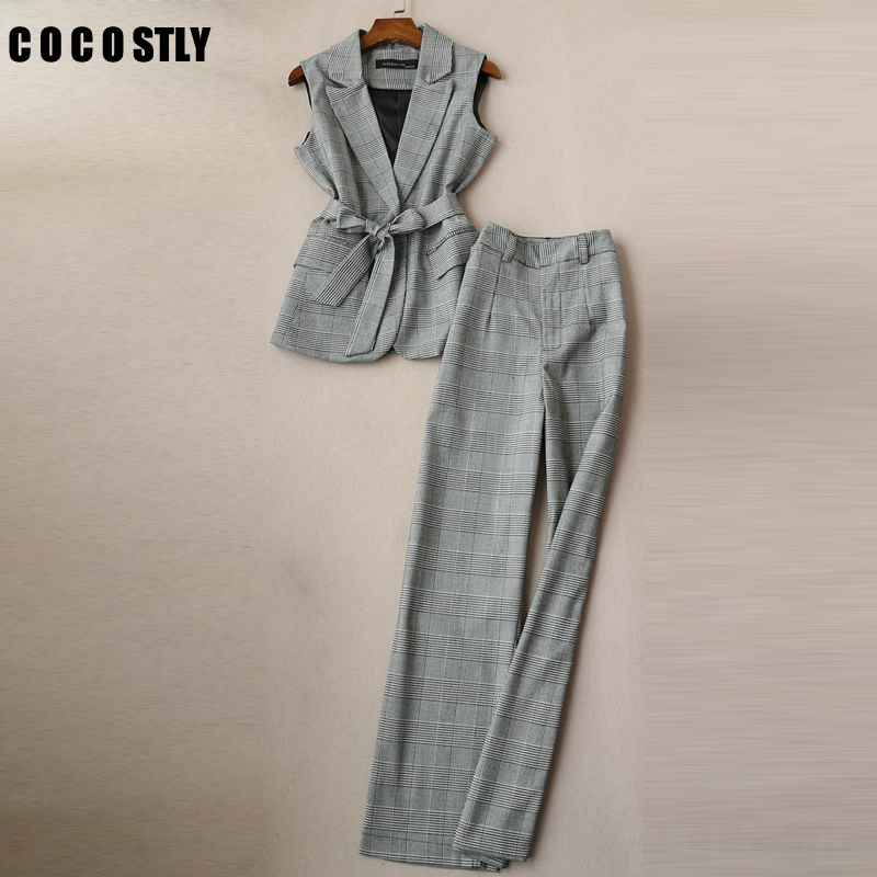 New 2019 2 Piece Set Elegant Plaid Pant Suit Waistcoat Belt Gray Vest Women Sleeveless Jacket Blazer Office Lady Work Wear