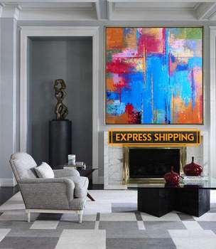 Abstract Oil Painting Large Oversize Painting Office Painting Colorful Painting Blue Painting Abstract Oil Painting On Canvas фото