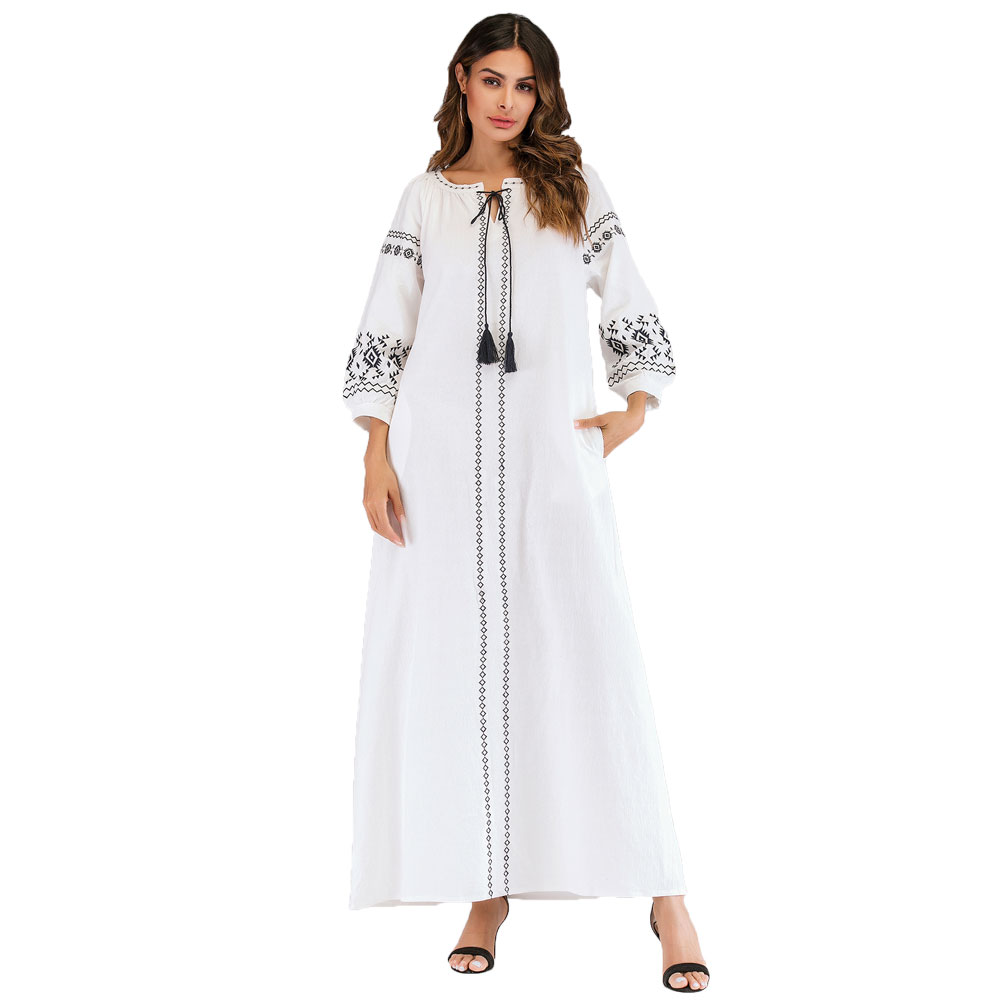 Embroidery Elegant Maxi Dress For Women Autumn Tassel Neck Long Sleeve Ramadan Gown EID Arabic Dubai Abaya Kaftan Robe VKDR1952