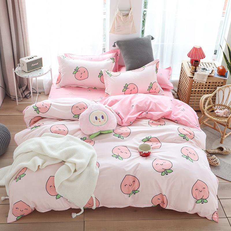 Cute Peach Print Cartoon Bed Cover Set Kid Girl Duvet Cover Adult Child Bed Sheets And Pillowcases Comforter Bedding Set 61066