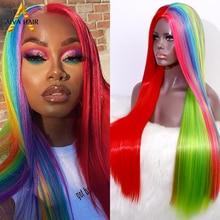 Aiva cabelo arco-íris cor peruca sintética barato reta completa peruca usinada resistente ao calor sintético cosplay perucas para preto