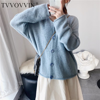 TVVOVVIN 2019 Autumn New Code Single Row Buckle Round Neck Solid Color Beige Blue Pink Easy Cardigan Short Blouse Sweater L008