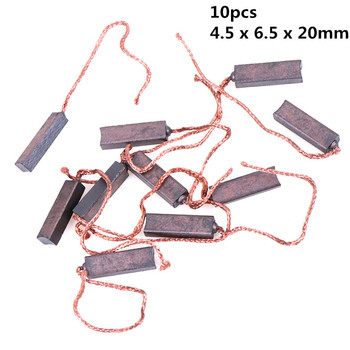New 10Pcs Carbon Brushes Wire Leads Generator Generic Electric Motor Brush Replacement 4.5 x 6.5 x 20mm 2 pcs electric replacement motor carbon matal brushes 7mm x 11mm x 18mm