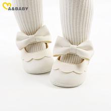 Ma & Baby – chaussures antidérapantes en cuir Pu pour bébés filles de 0 à 18 mois, avec nœud, pour premiers pas, princesse, anniversaire