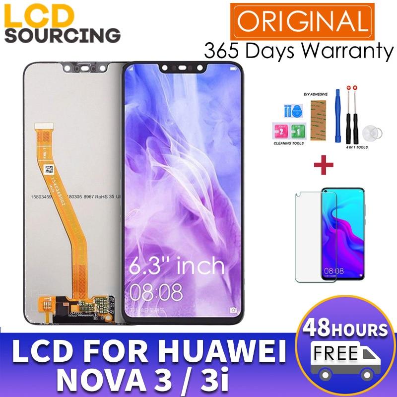 "100% ORIGINAL 6.3"" For Huawei Nova 3 LCD PAR LX1 Touch Screen Panel Digitizer Assembly Frame FOR Nova 3i Display Replace INE-LX2"