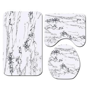 Image 5 - バスマットフック浴室の敷物セット抗床のカーペットシャワー大理石プリントトイレカバーカーペットセット