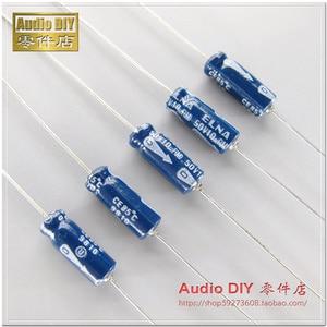Image 2 - 20 pces novo elna velho 10 uf/50 v 5x15mm japão original 10 uf 50 v capacitor eletrolítico axial áudio azul 50 v 10 uf