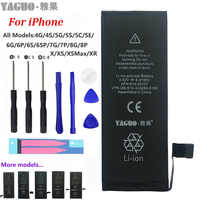 100% Neue Original Telefon Batterie Für Apple iPhone 4 4S 5 5S 5C SE 6 6S 7 8 Plus X XS MAX XR Reale Kapazität 0 Zyklus Kostenlose Tools Kit