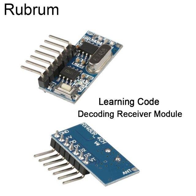Rubrum decodificador de código de aprendizaje 433Mhz, 4CH RF, 4 botones, interruptor de Control remoto para Arduino Uno, módulo Smart Home
