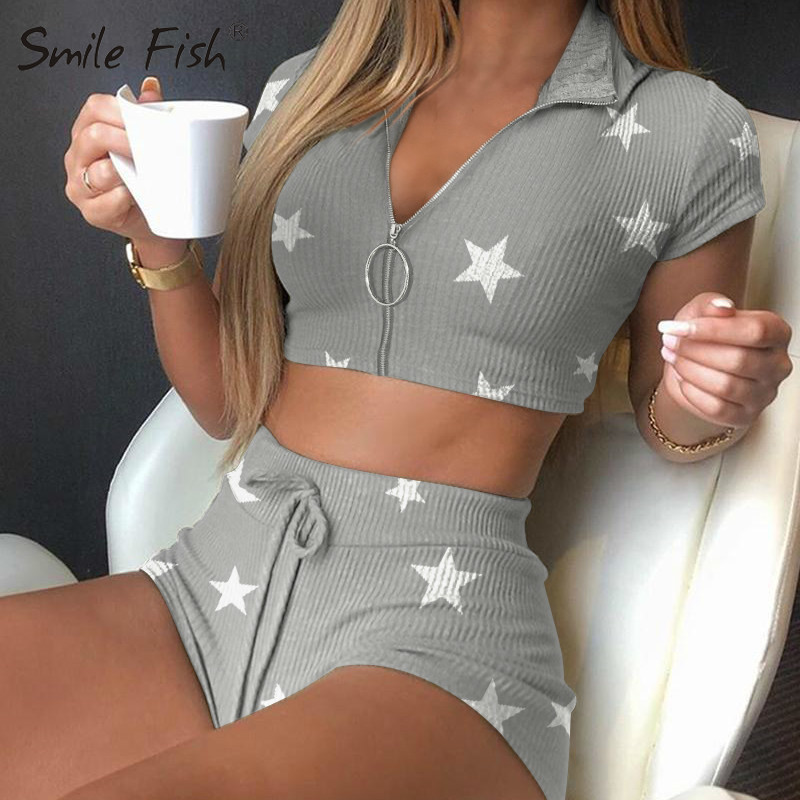 Fitness Women's Set Lovely Stars Print Yoga Suits Zipper Scoop Neck Elastic Crop Top Drawstring Shorts Casual Girl Outfits G1630
