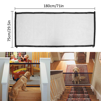 pet safety door Magic Pet Dog Gate Pet Fence Barrier Cat Dog Door Foldable Safety Ramps Guard Indoor Outdoor Puppy Dog Mesh Gate 5