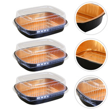 3 Sets Japanese Cuisine Disposable Dumpling Box(770ml+Transparent Lid)