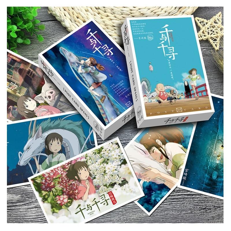 36 folhas/Set Anime Hayao Miyazaki A Viagem de Chihiro Cartão Postal Cartão Cartão de Mensagem de Cartão de Presente de Aniversário