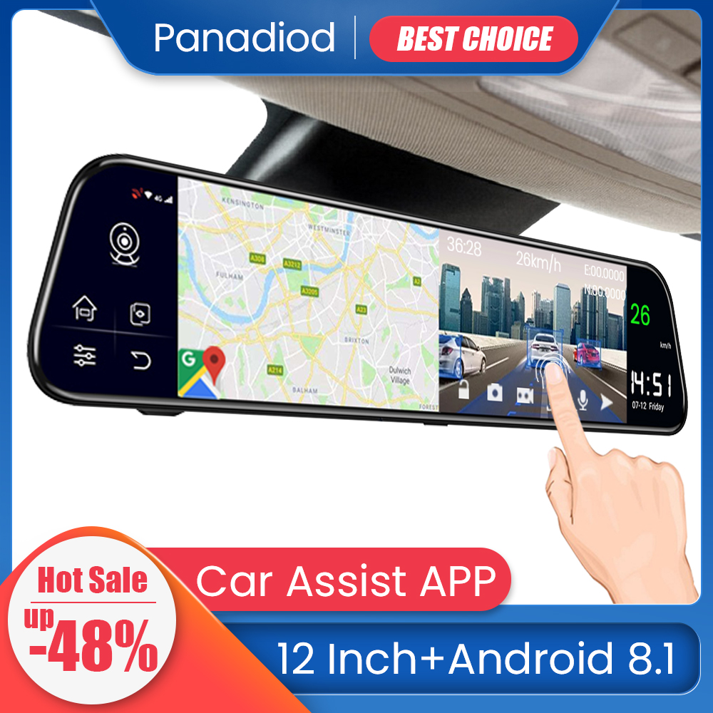 12 Inch Car DVR Android 8.1 4G WiFi GPS  Navigation Rearview Mirror Auto Recorder Car DVR Mirror Dash Camera FHD Car Mirror VIde