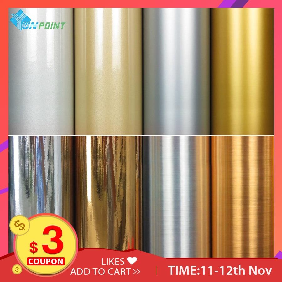 Metal Effect Wallpaper Self Adhesive Mirror Silver Brushed Gold Waterproof Sticker Fridge Old Electrical Diy Decorative Film