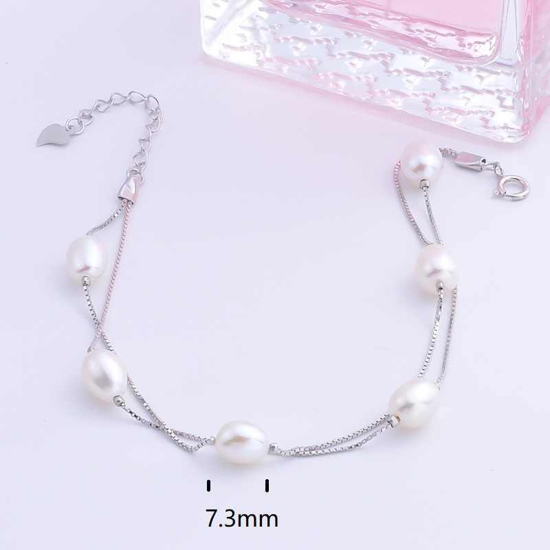 Pekurr 925 Sterling Zilver 7.3Mm Ovale Natuurlijke Zoetwater Parel Armband Voor Vrouwen 6 Kralen Sieraden Dubbele Box Chain Bangle