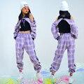 2021, джазовые танцевальные костюмы, фиолетовый клетчатый костюм в стиле хип-хоп, одежда для уличных джазовых танцев для девочек, детская одеж...