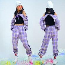 2021 Jazz Dance Costumes Purple Plaid Hiphop Suit Girls Jazz Street Dance Clothing Children Hip Hop Practice Clothes DQS5556