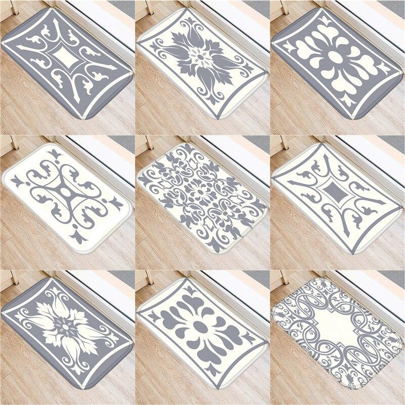 Gray Bohemian Mandala Flower Carpet Polyester Rug Non-slip Floor Mat Doormat For Bedroom Kitchen Door