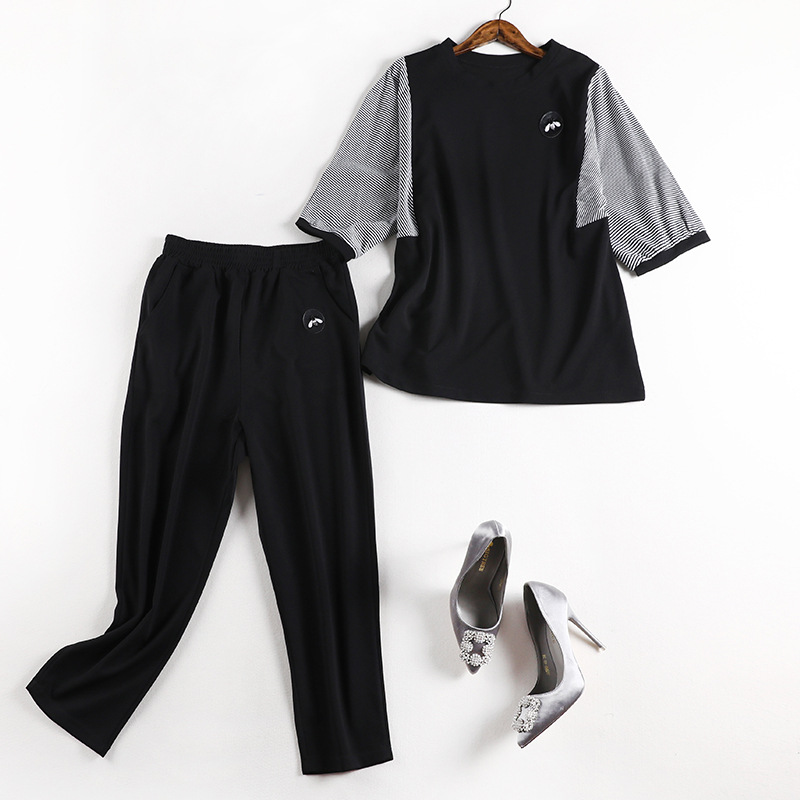 Lan Mu Square Chubby Sister M Slimming Set Pants 2019 Autumn New Style Large Size Dress Loose-Fit Two-Piece 70074