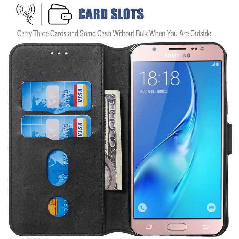 Wallet Leather Flip Case High Quality Pu Leather Ripple for Galaxy J7 2016 Case Galaxy J7 2016 Case Cover Card Slot Casake Green