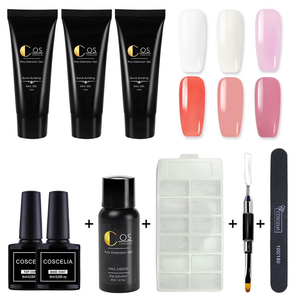 COSCELIA Poly Gel Kit Quick Builder Gel Nail Polish Set 15ml Finger Extension UV Gel Nail Kit Nail Art File Manicure Tools Set in Sets Kits from Beauty Health
