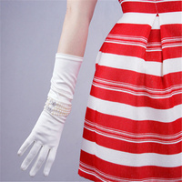 Silk Gloves 38cm Elastic Silk Satin White Beige Pearl Long Female Sunscreen Gloves SCM38