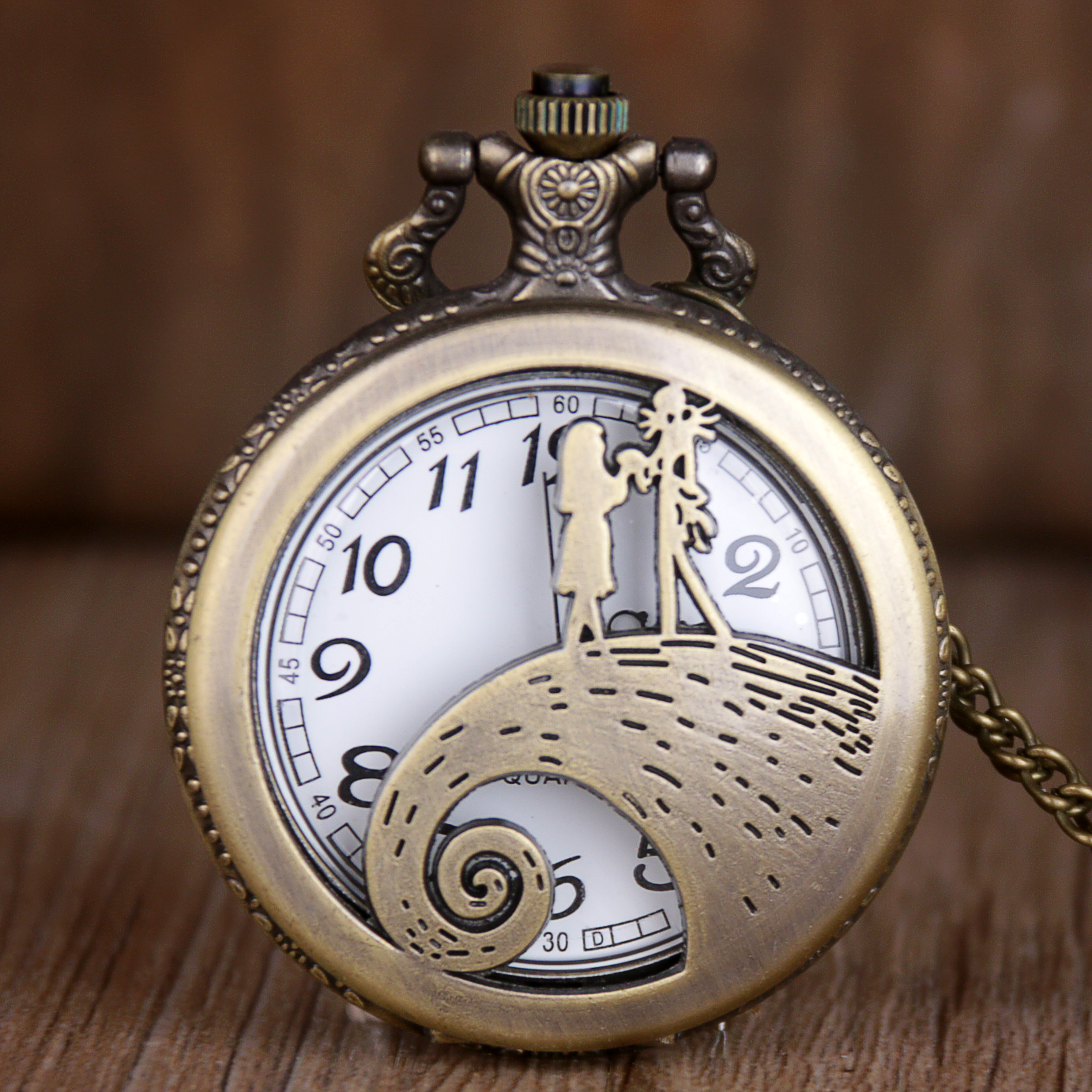 Retro Pocket Watch Necklace For Men Women Antique Bronze Flip Fob Quartz Clock With Pendant Chain Gift