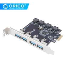 цена на ORICO 4 Port USB 3.0 PCI-E Express card Super Speed 5Gbps PCI-E Expansion Card Adapter For Desktop PC Computer Components Win10