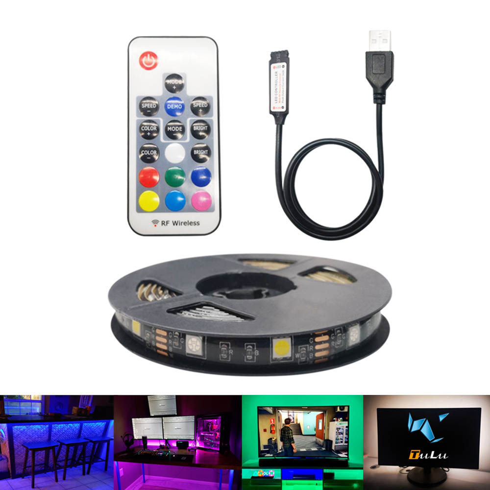5V USB LED Strip TV 2M RGBWW Changeable LED Tape Ribbon Flexible TV Background Lighting DIY LED String Light Decoration