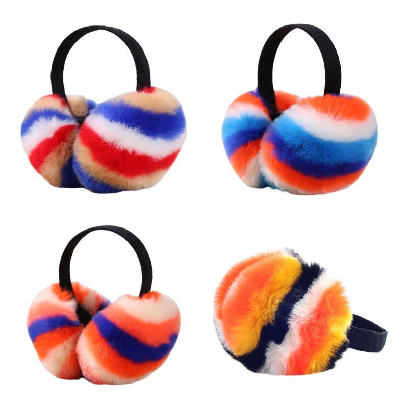 Women Winter Fluffy Plush Earmuffs Rainbow Colorful Stripes Collapsible Headband