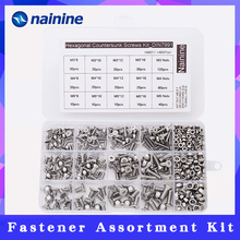 480Pcs/set M3 M4 M5 DIN7991 ISO10642 A2 70 Hexagonal Countersunk Screws Flat Head Screw Hex Socket Bolt Assortment Kit HW017