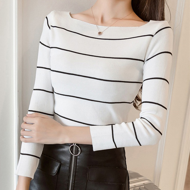 Fashion Casual Slash Neck Female Long Sleeve Tops Lady Striped Sweater Thin Women Knitted Pullover