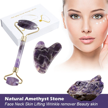 Natural Amethyst Jade Roller Set Facial Massage Rollers Massager for Face Slimming Chin Lift Up Facial Beauty Roller Skin Care