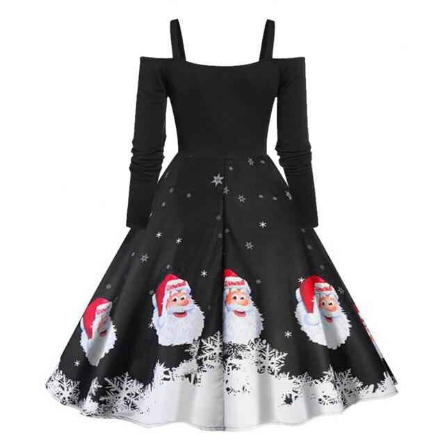 JAYCOSIN Women Dress Autumn Sexy Off Shoulder Christmas Santa Claus Print Dress Midi Long Sleeve Party Dresses Vestidos Oct