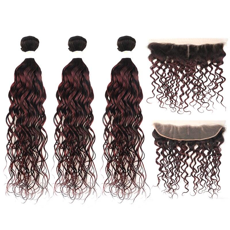 1b/99j onda de água ombre frontal com pacotes dois tons feixes de cabelo humano brasileiro com fechamento não remy tecer cabelo extensão
